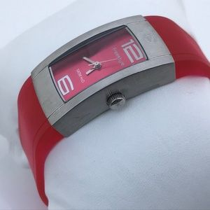 Free Style Women Watch Deep Pink Rubber Band 5ATM